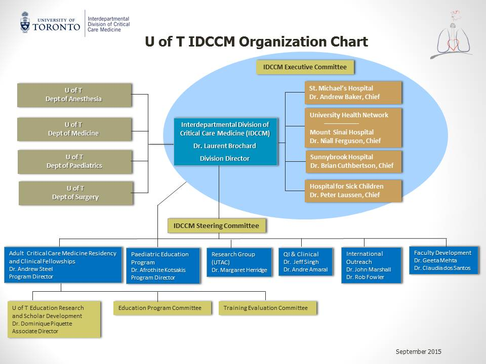Interdepartmental Division of Critical Care at University of Toronto Organization Chart